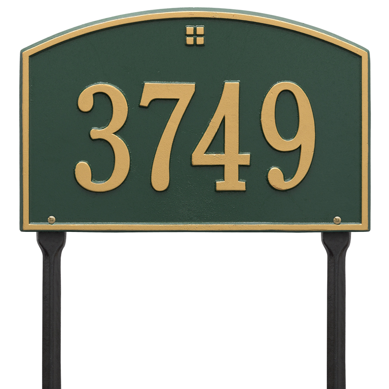Cape Charles Plaque - Standard Lawn - One Line - Dark Green with Gold Letters