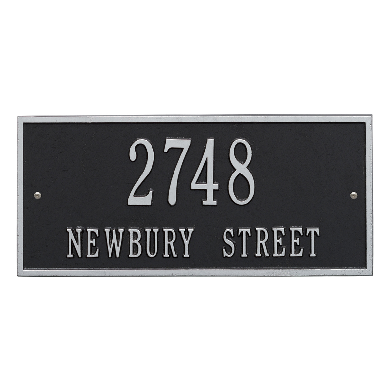 Hartford Plaque - Standard Wall - Two Line - Black with Silver Letters