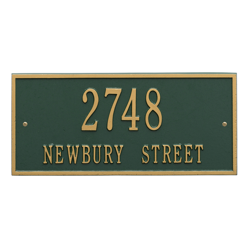 Hartford Plaque - Standard Wall - Two Line - Dark Green with Gold Letters