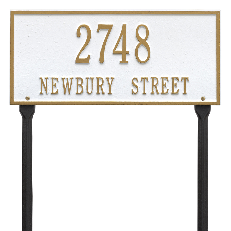 Hartford Plaque - Standard Lawn - Two Line - White with Gold Letters