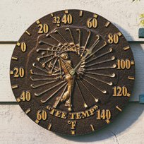 "Golfer 12"" Indoor Outdoor Wall Thermometer, Copper Verdigris"