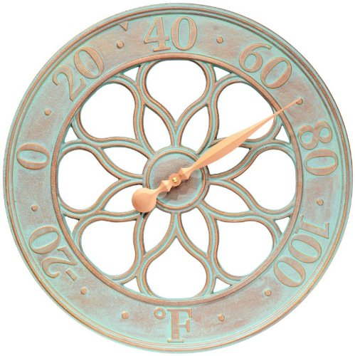 "Medallion 18"" Indoor Outdoor Wall Thermometer, Copper Verdigris"