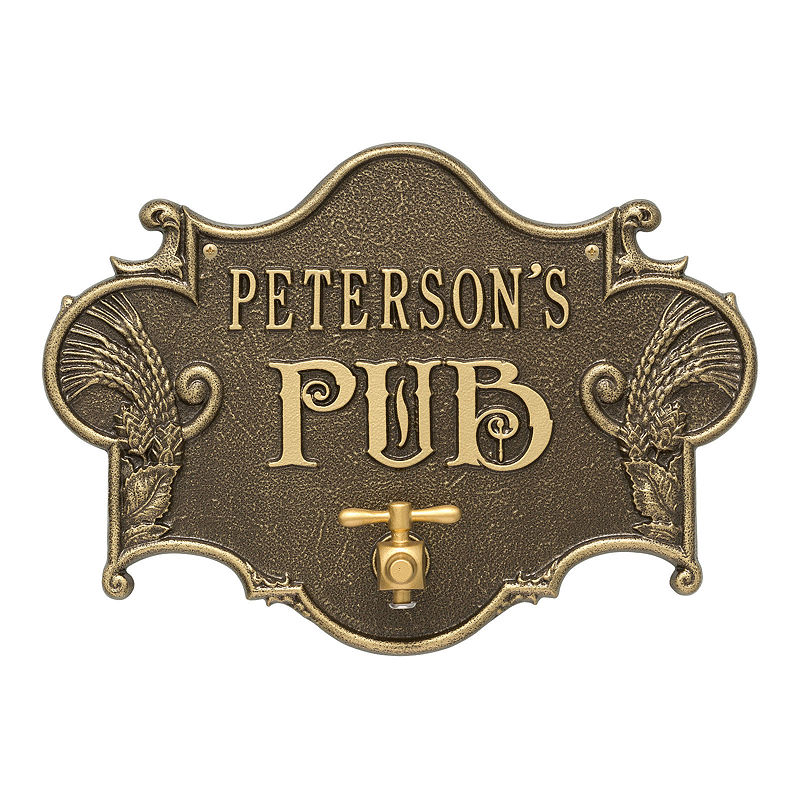 Hops & Barley Beer Pub Plaque, Antique Brass