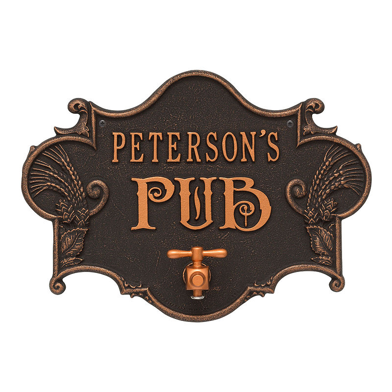 Hops & Barley Beer Pub Plaque , Oil Rubbed Bronze