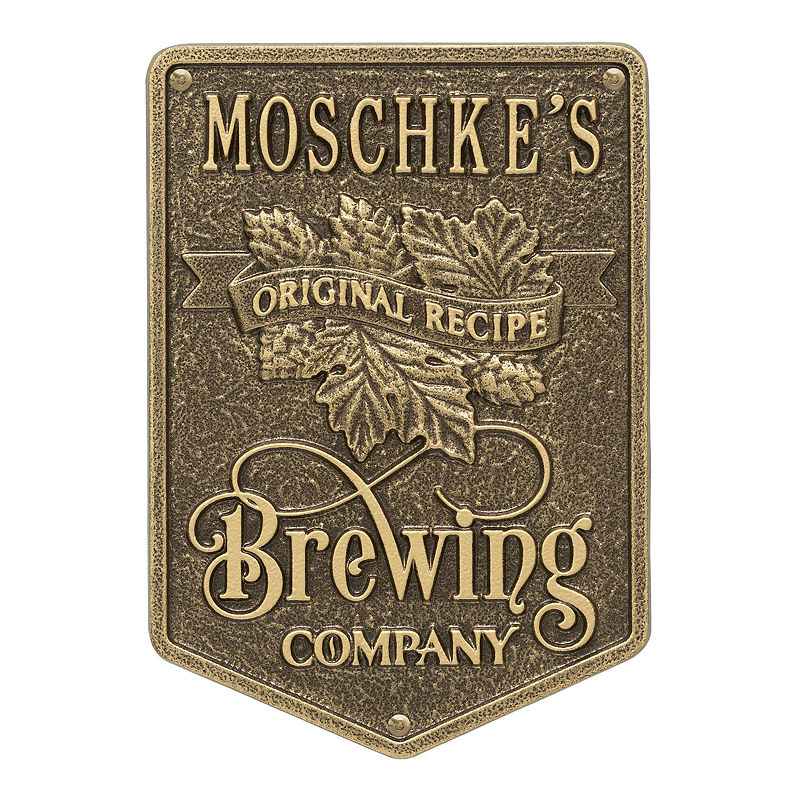 Original Recipe Brewing Company Beer Plaque, Standard Wall 1-line, Antique Brass