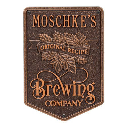 Original Recipe Brewing Company Beer Plaque, Standard Wall 1-line, Antique Copper