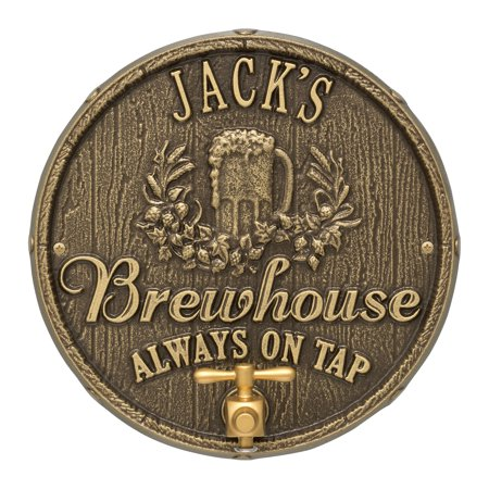 Oak Barrel Beer Pub Plaque, Antique Brass