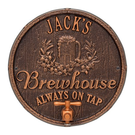 Oak Barrel Beer Pub Plaque, Antique Copper
