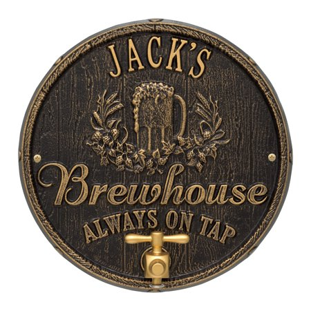Oak Barrel Beer Pub Plaque, Black / Gold