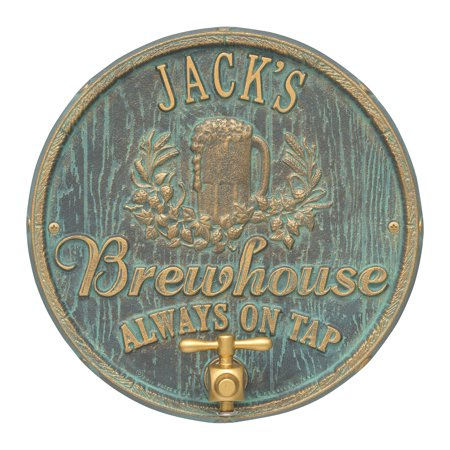 Oak Barrel Beer Pub Plaque, Bronze Verdigris