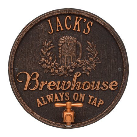 Oak Barrel Beer Pub Plaque, Oil Rubbed Bronze