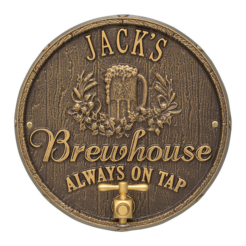 Oak Barrel Beer Pub Plaque, Dark Bronze / Gold