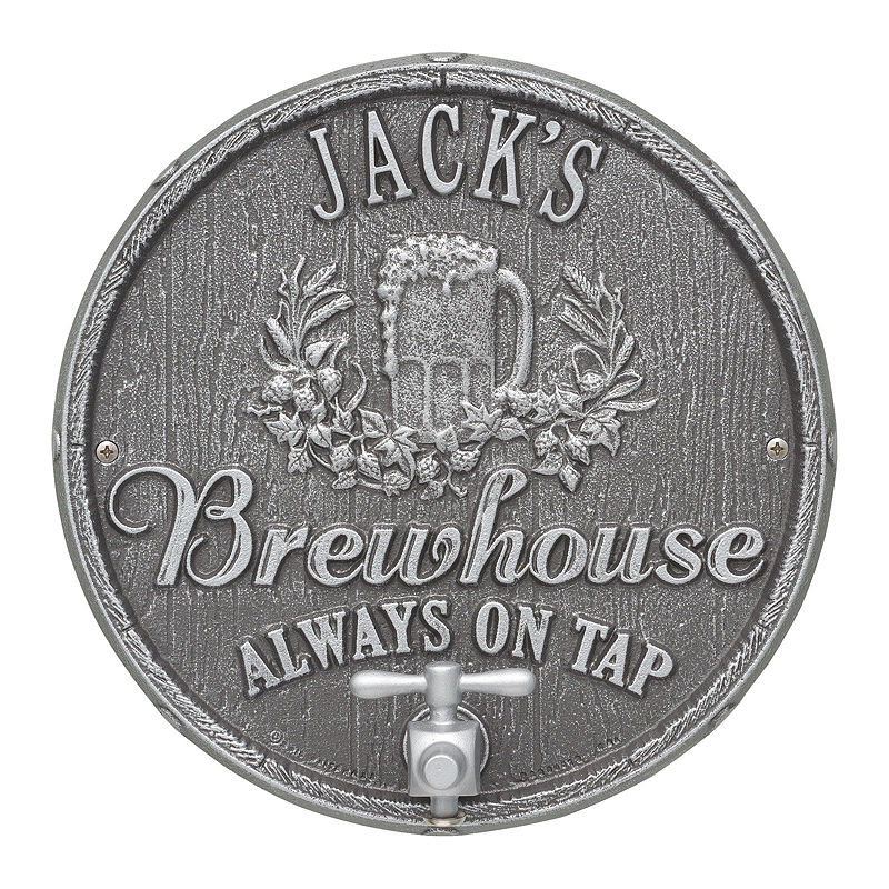 Oak Barrel Beer Pub Plaque, Pewter / Silver