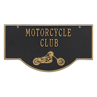 2-Sided Hanging Garage Chopper Plaque, Black with Gold