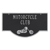 2-Sided Hanging Garage Chopper Plaque, Black with Silver