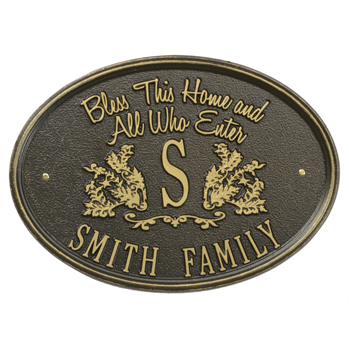 Bless This Home Monogram Oval Personalized Plaque, Bronze with Gold