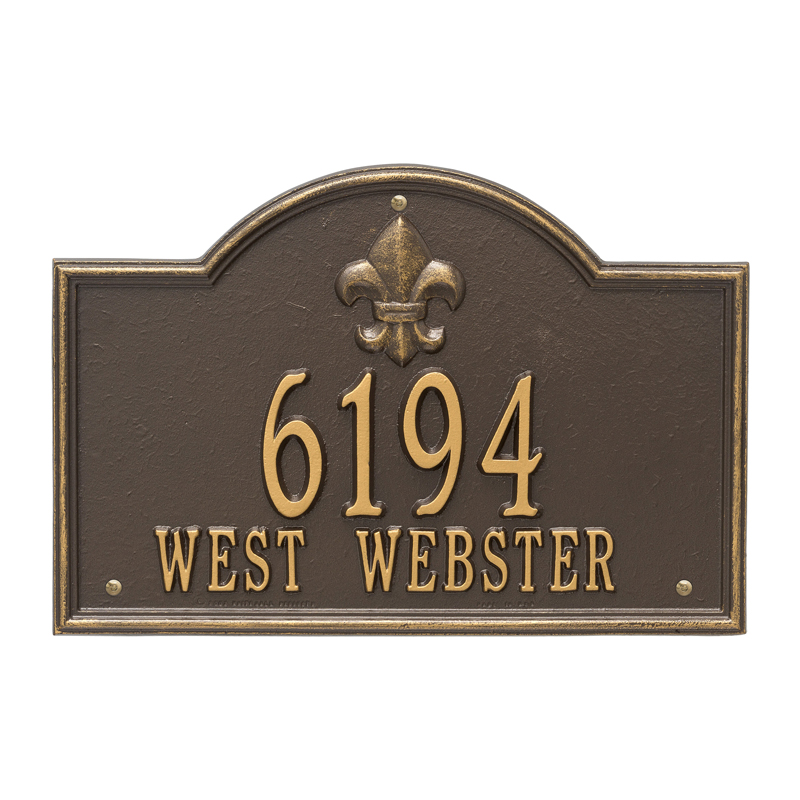 Bayou Vista Plaque - Standard Wall - Two Line - Bronze with Gold Letters