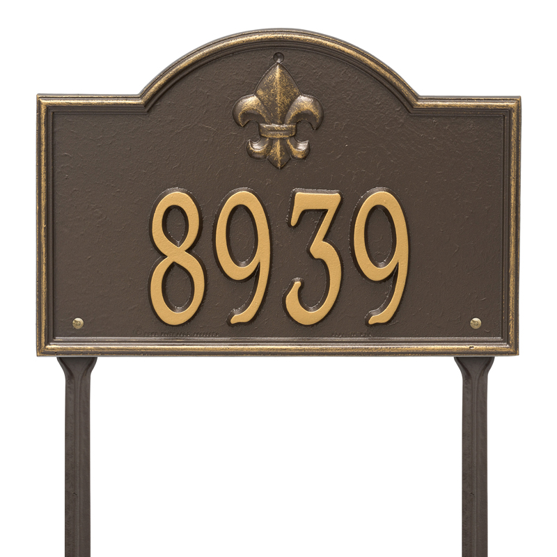 Bayou Vista Plaque - Standard Lawn - One Line - Bronze with Gold Letters