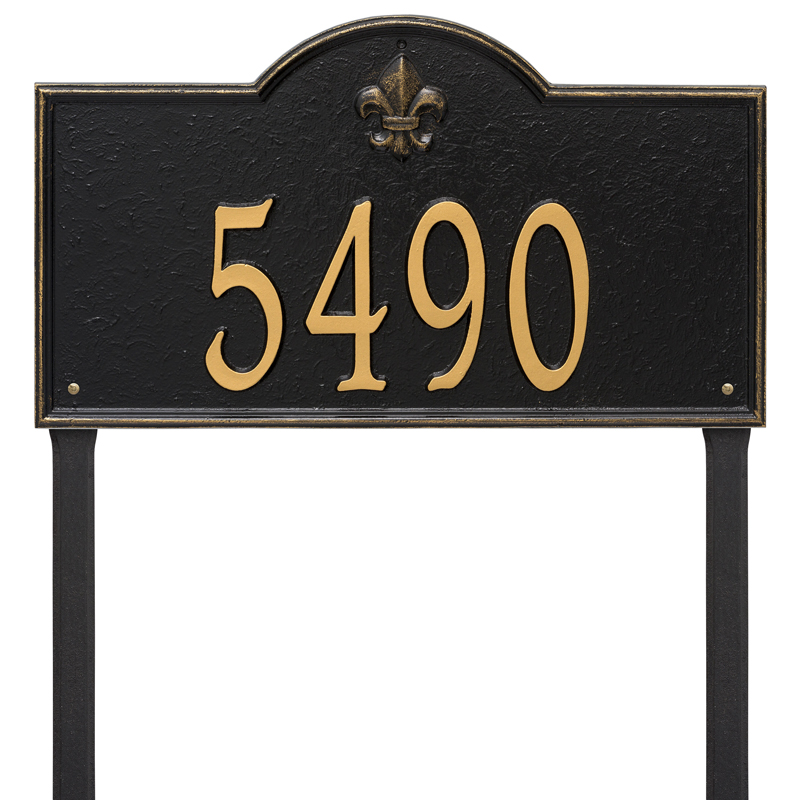 Bayou Vista Plaque - Estate Lawn - One Line - Black with Gold Letters