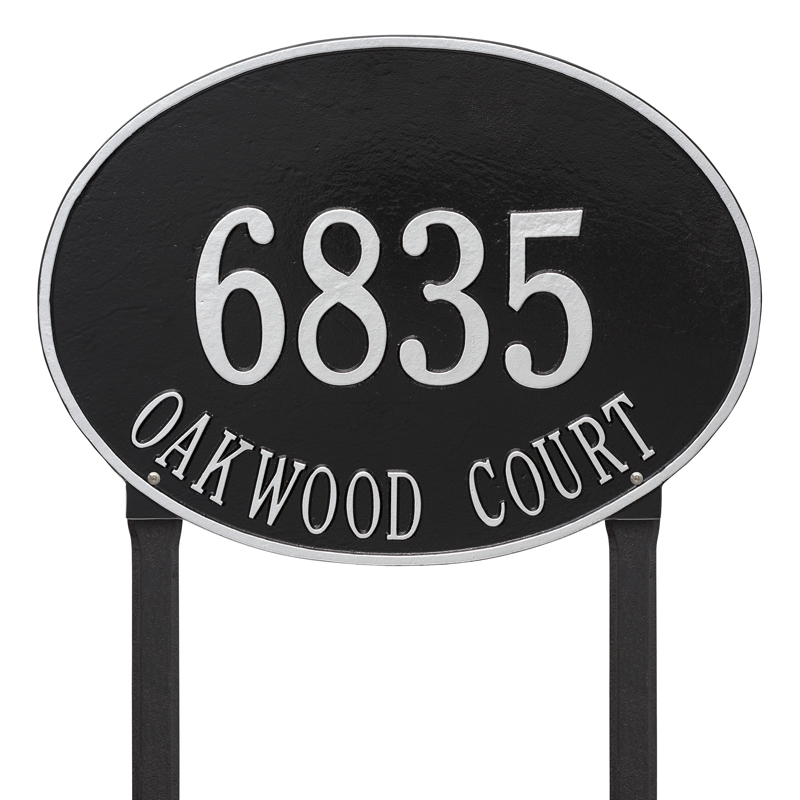 Hawthorne Oval Plaque - Estate Lawn - Two Line - Black with Silver Letters