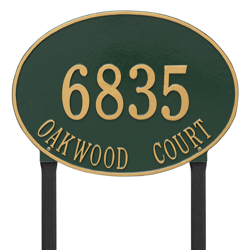 Hawthorne Oval Plaque - Estate Lawn - Two Line - Dark Green with Gold Letters