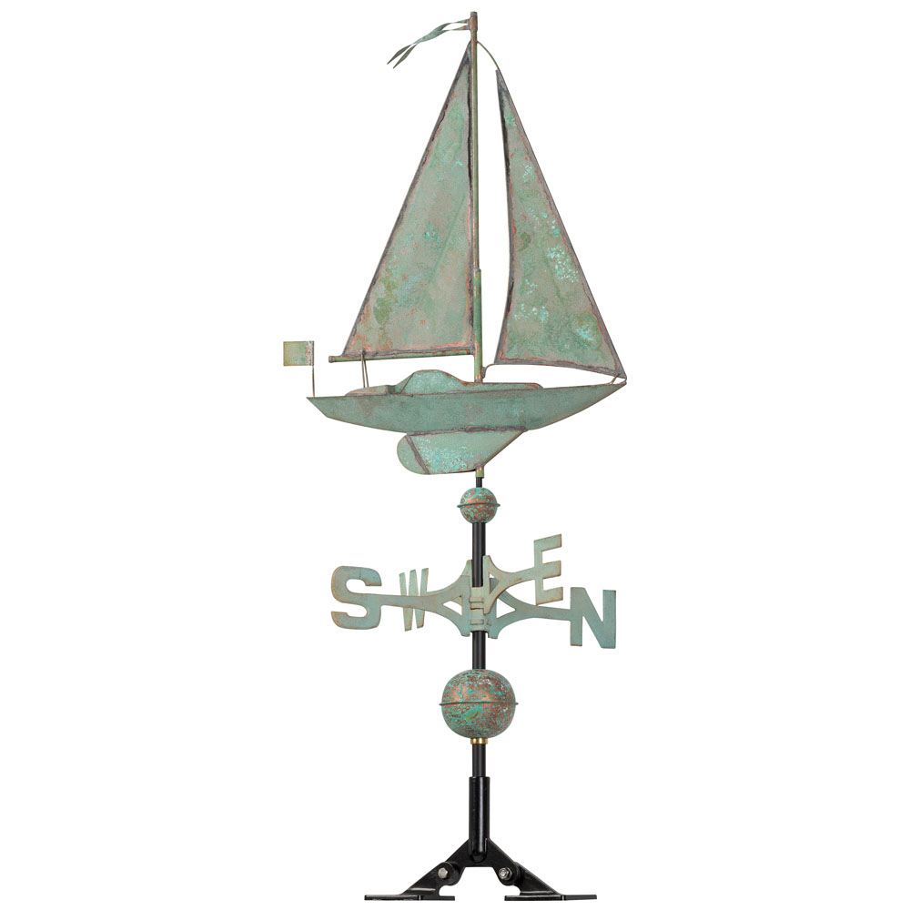 Classic Directions Verdigris Copper Sailboat Weathervane, Verdigris