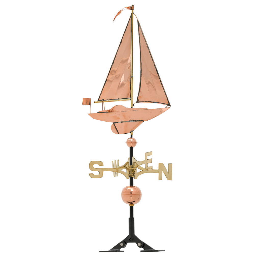 Classic Directions Polished Copper Sailboat Weathervane, Polished