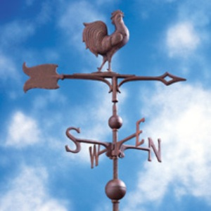 """Rust 30"""" Full-Bodied Rooster Weathervane"""