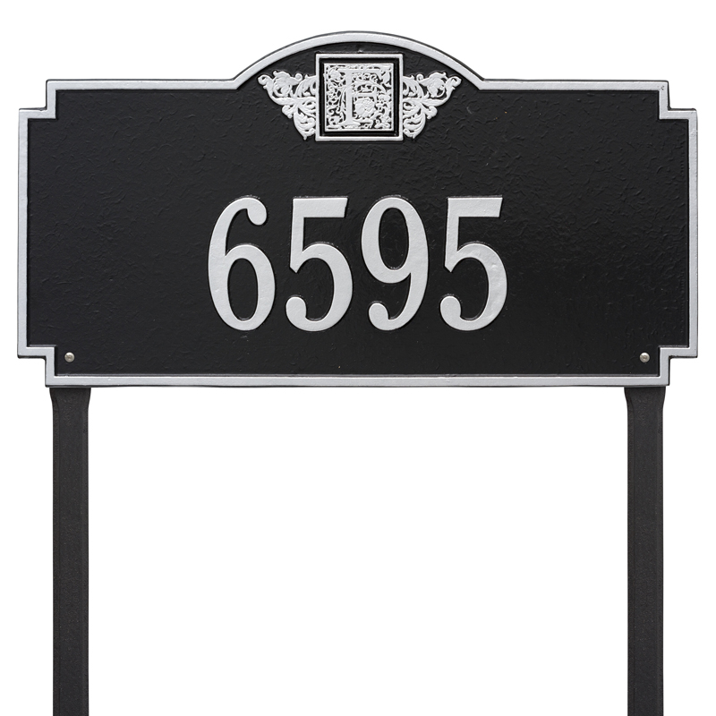 Monogram - Estate Lawn - One Line - Black with Silver Letters