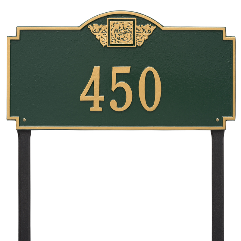 Monogram - Estate Lawn - One Line - Dark Green with Gold Letters