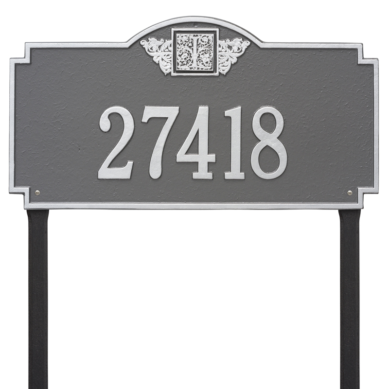 Monogram - Estate Lawn - One Line - Pewter with Silver Letters