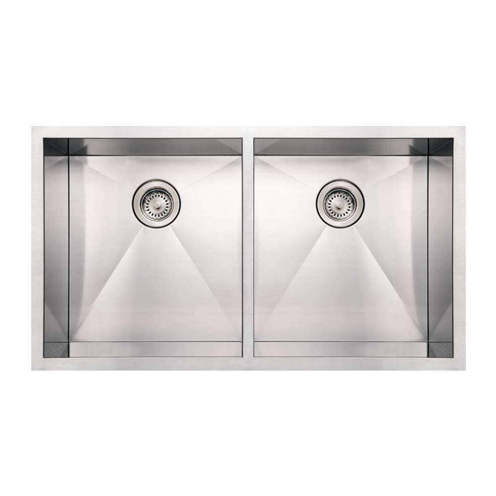 Whitehaus Collection Noahs Collection Brushed Stainless Steel commercial double bowl undermount sink-Brushed Stainless Steel-WHN