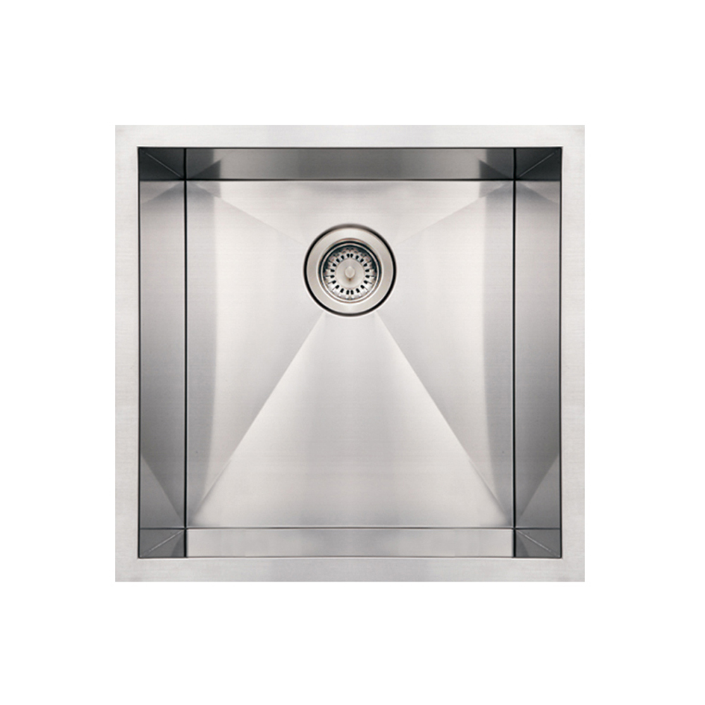 Whitehaus Collection Noahs Collection Brushed Stainless Steel commercial single bowl undermount sink-Brushed Stainless Steel-WHN