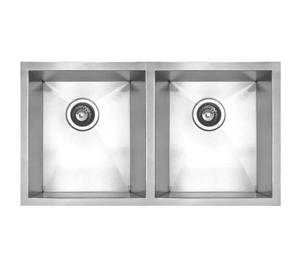 Whitehaus Collection Noahs Collection Brushed Stainless Steel Chefhaus Series double bowl undermount sink-Brushed Stainless Stee