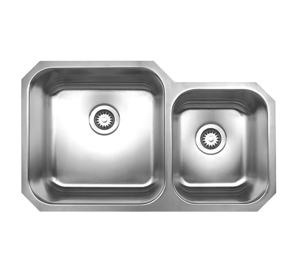 Whitehaus Collection Noahs Collection Brushed Stainless Steel double bowl undermount sink-Brushed Stainless Steel-WHNDBU3320