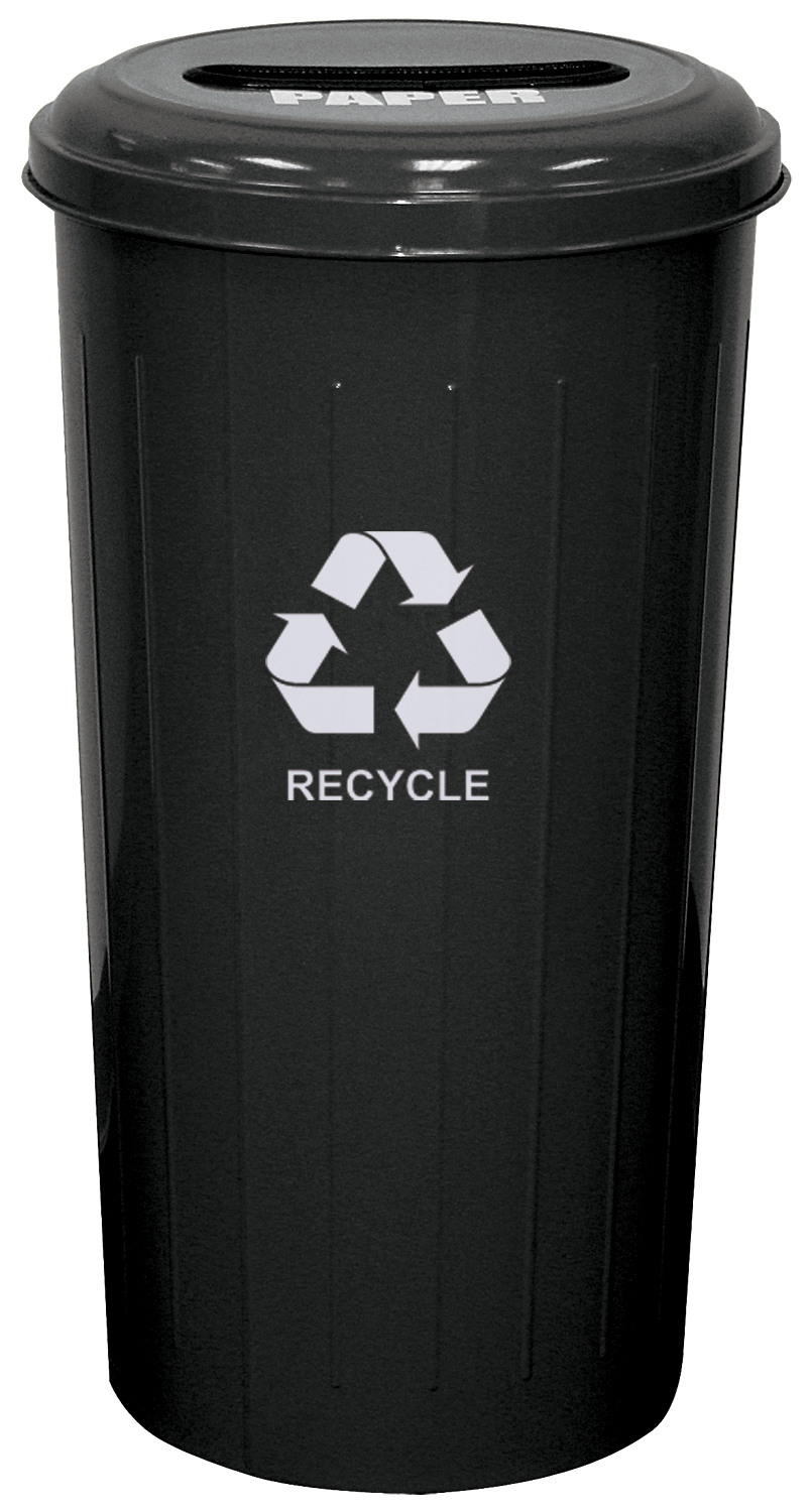 Tall Round Recycling Wastebasket And Top, Black