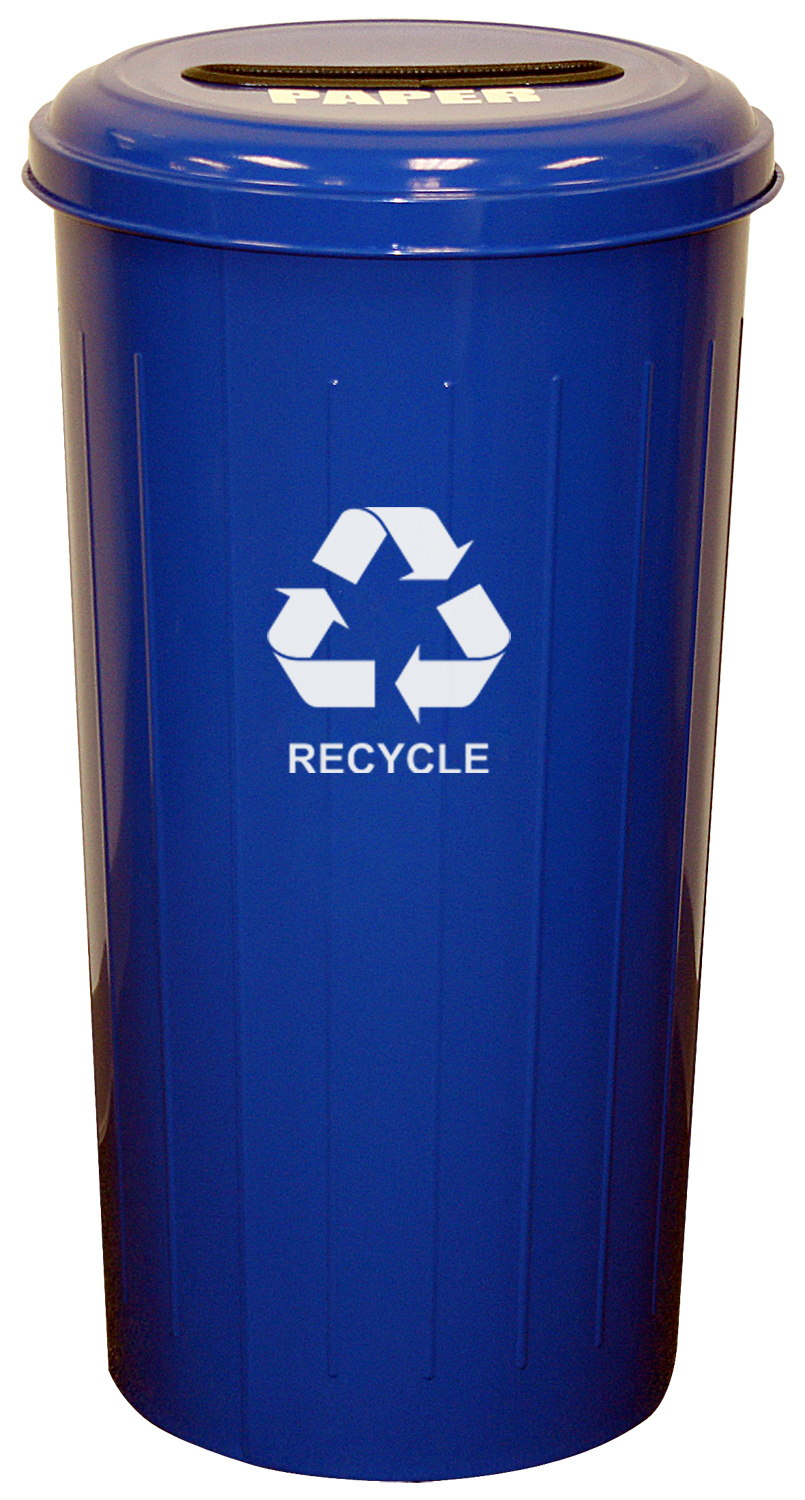 Tall Round Recycling Wastebasket And Top, Recycle Blue