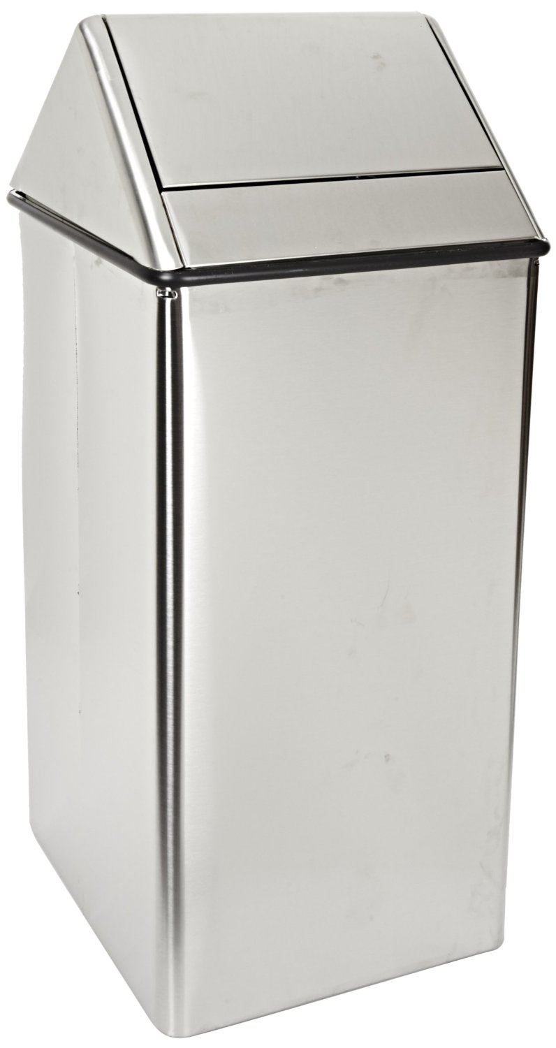Large, Stainless Steel Hamper And Swing Top