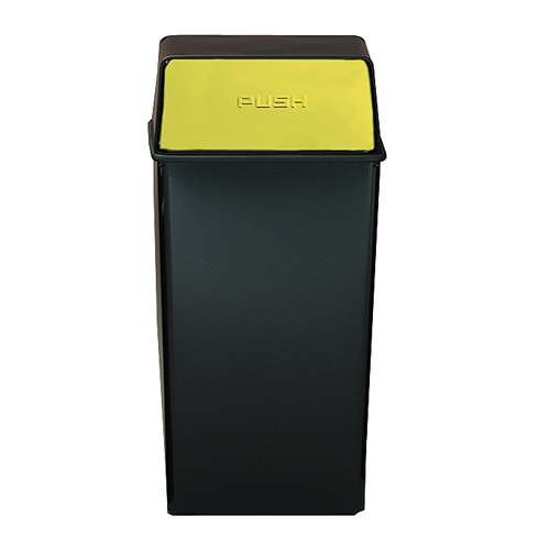 Painted Hamper And Top With Push Doors, Black with Brass Accents