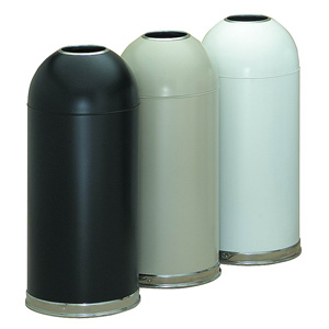 Dome Top Receptacle With Open Top, White