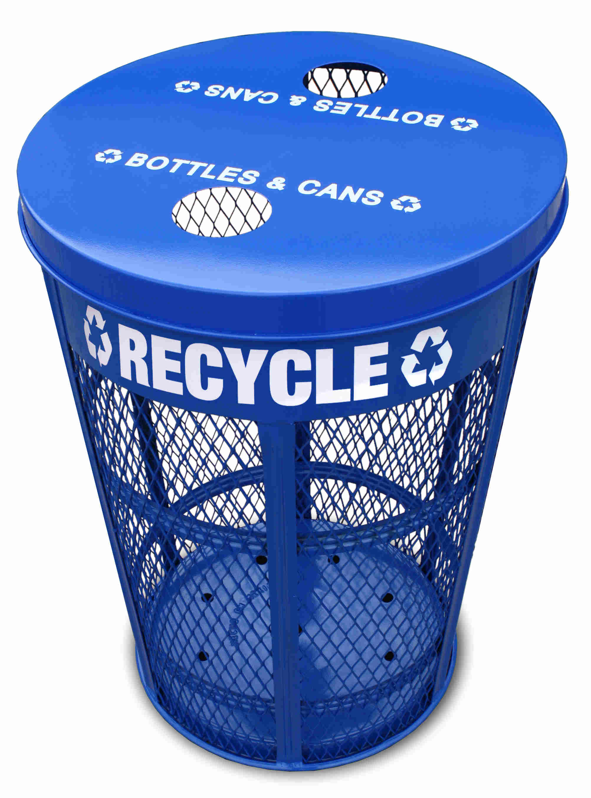 Expanded Metal Outdoor Recycling Container, Blue