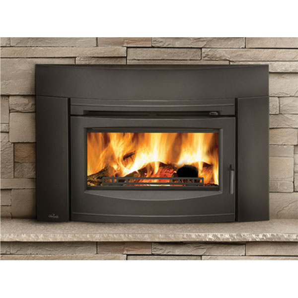 EPI3C Napoleon Contemporary Flush Front Minimum Wood Burning Fireplace Insert, Metallic Black
