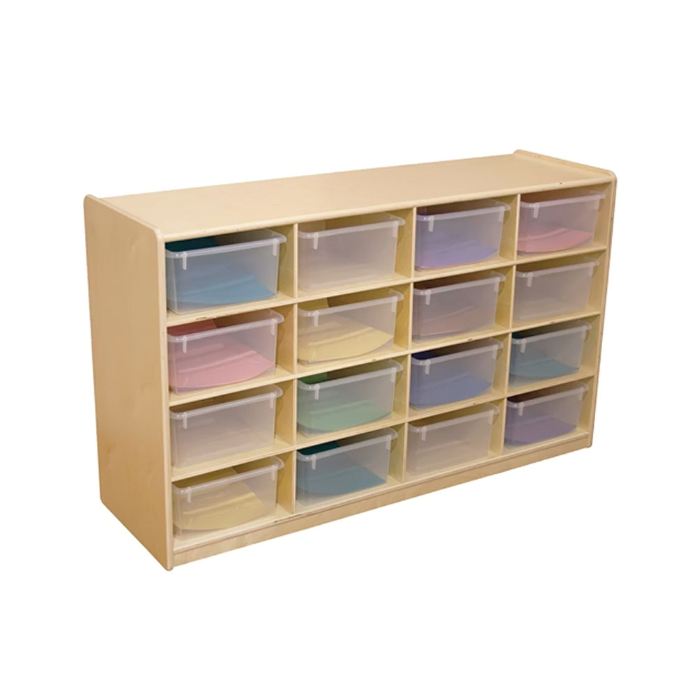 """Wood Designs Kids Play Furniture WD18441 (16) 5"""" Letter Tray Storage Unit with Translucent Trays"""