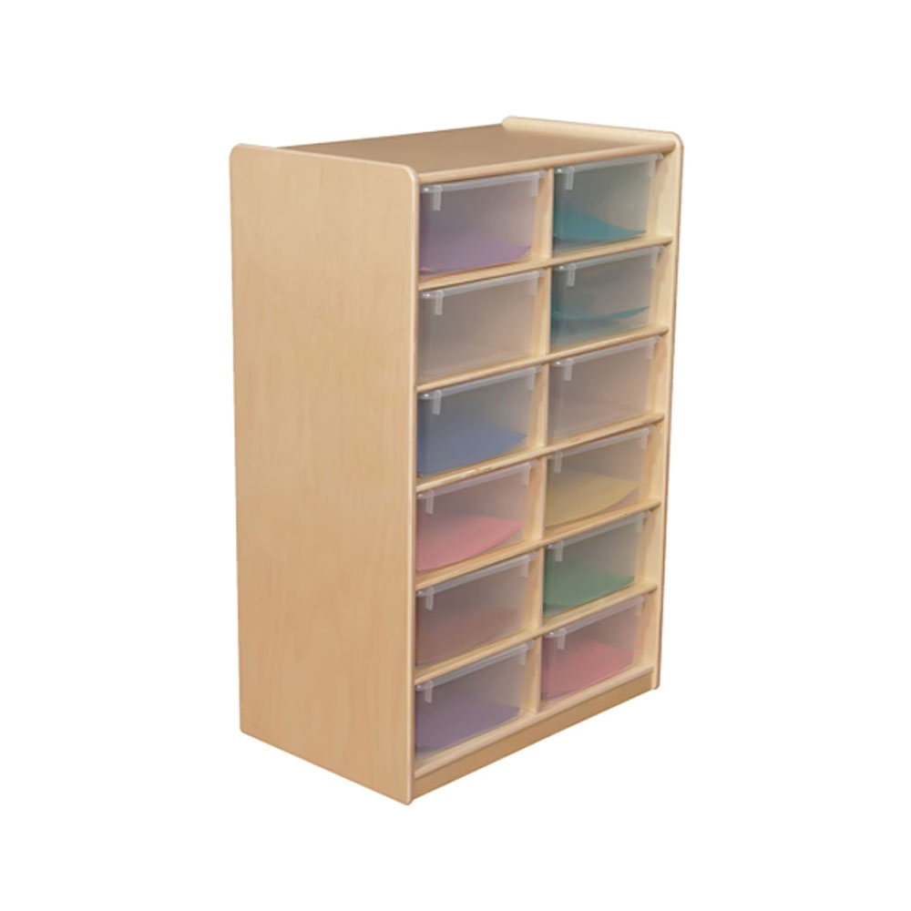 """Wood Designs Kids Play Furniture WD18261 (12) 5"""" Letter Tray Storage Unit with Translucent Trays"""