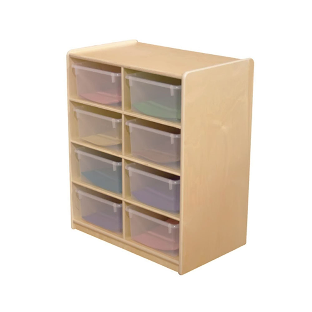 """Wood Designs Kids Play Furniture WD18241 (8) 5"""" Letter Tray Storage Unit with Translucent Trays"""