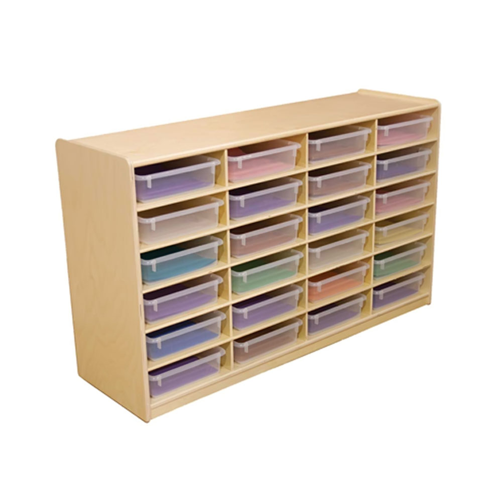 """Wood Designs Kids Play Furniture WD17461 (24) 3"""" Letter Tray Storage Unit with Translucent Trays"""