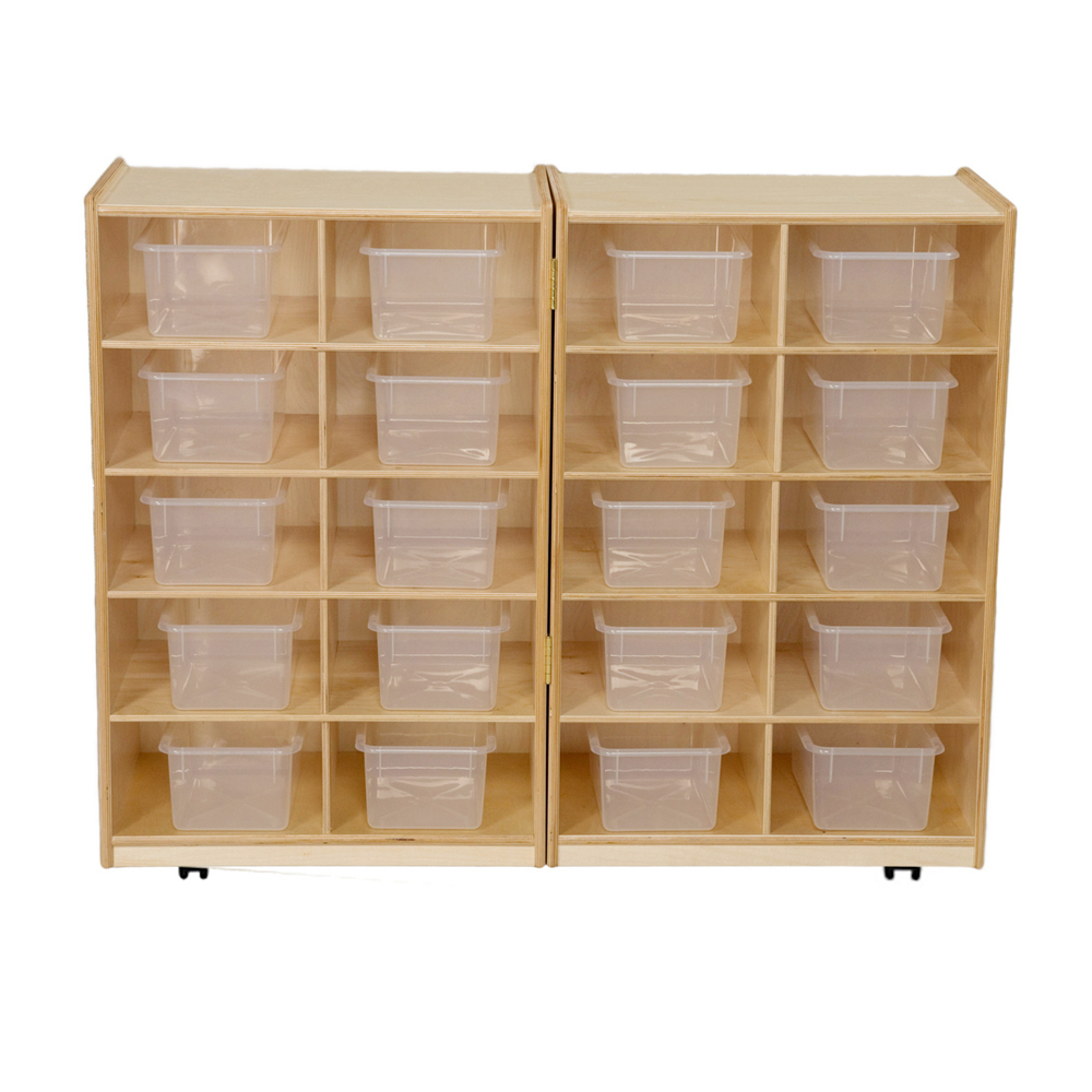 Wood Designs Kids Play Toy Book Plywood Organizer Wd16201 Folding Vertical Storage With (20) Translucent Trays