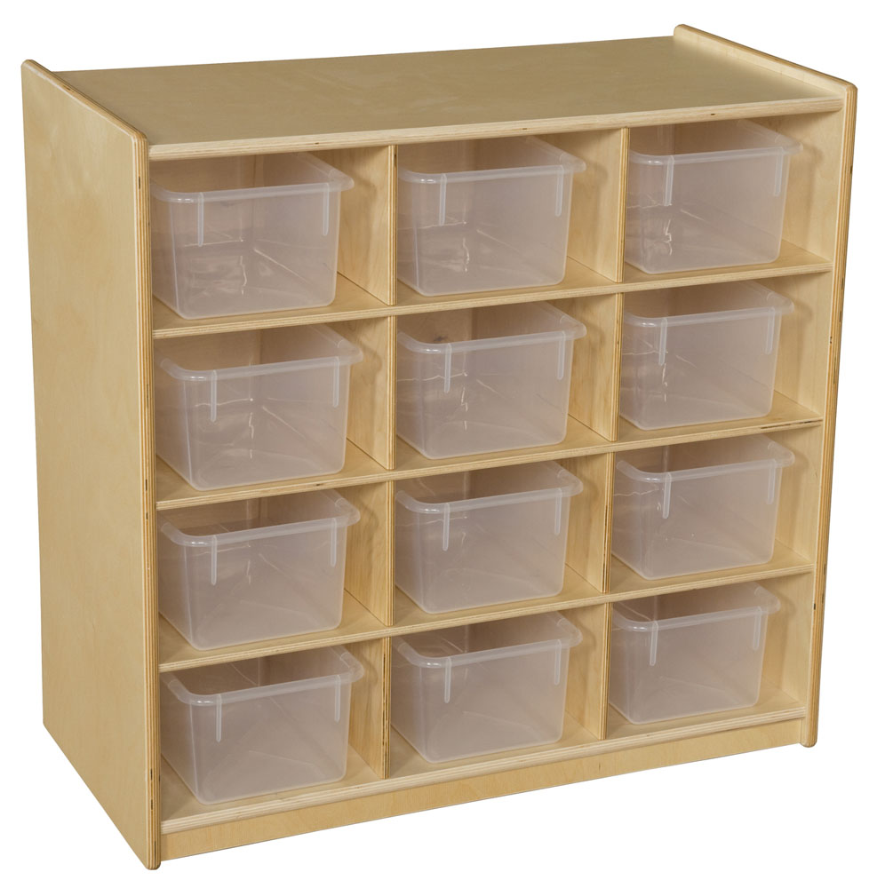 Wood Designs Kids Room 12 Cubby Storage with Translucent Trays