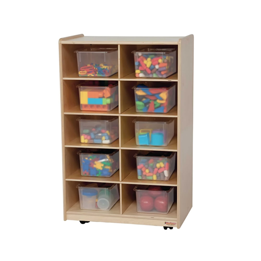 Wood Designs Kids Play Toy Book Plywood Organizer Wd16101 Vertical Storage With 10 Translucent Trays
