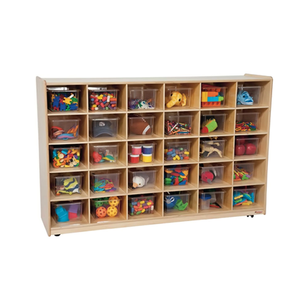 Wood Designs Kids Play Toy Book Plywood Organizer Wd1603130 Tray Storage With Translucent Trays